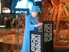 One's first tweet! Queen Elizabeth uses Twitter to send message officially opening new science exhibition - and it already has a hashtag